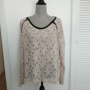 DKNY Jean LS Beige Lace Blouse NWT Large
